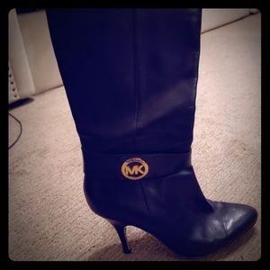 Michael Kors knee high stiletto black leather boot